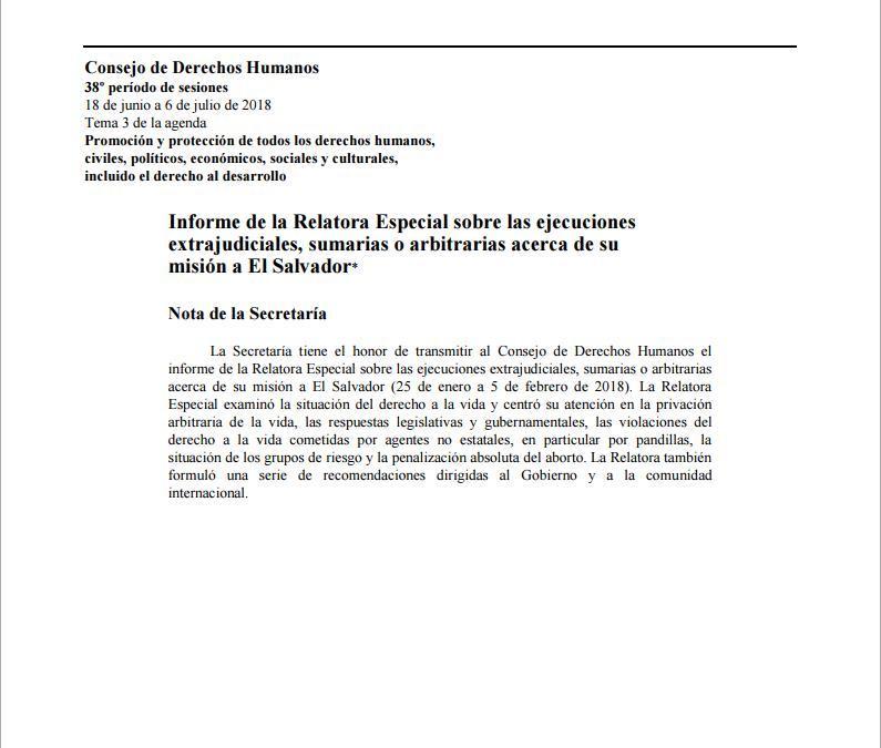 Informe de la Relatora Especial sobre las ejecuciones extrajudiciales