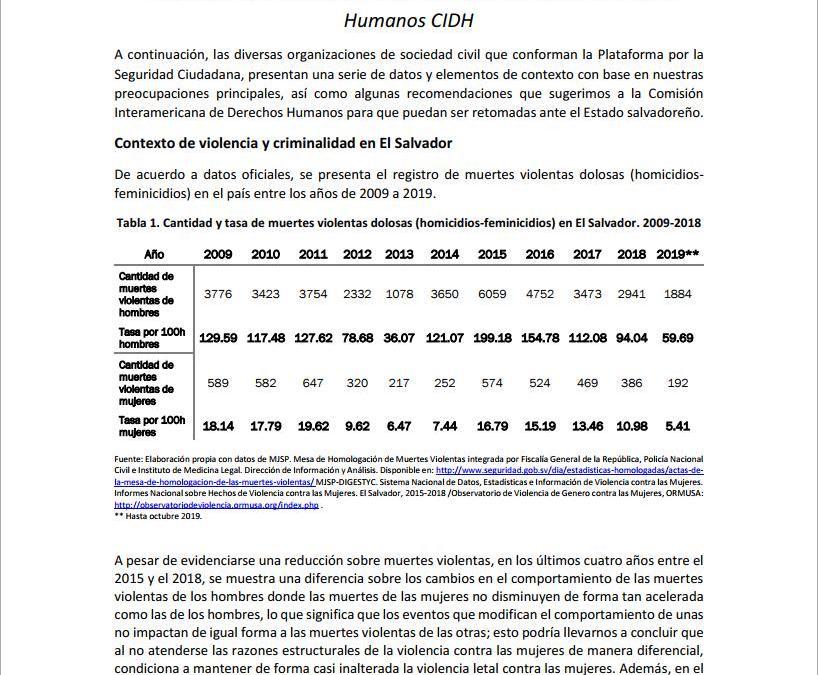 Informe situacional sobre derechos humanos y seguridad ante CIDH 2019