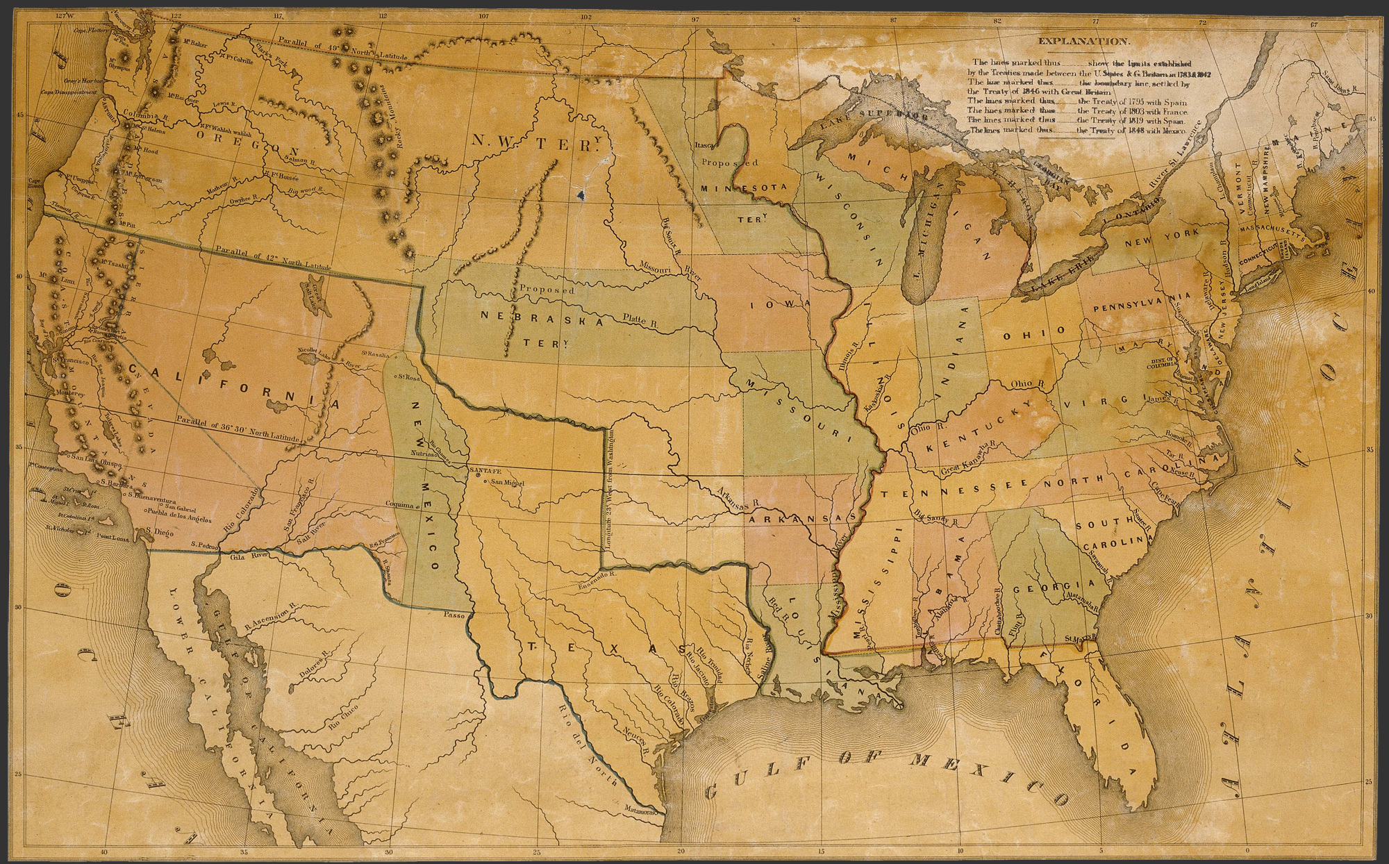 Map of the United States  1848   Humanities Texas Map of the United States  1848