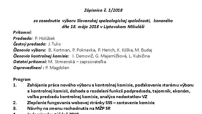 zápisnica, program, web, sss, Zápisnica č. 1/2018, Slovenská speleologická spoločnosť