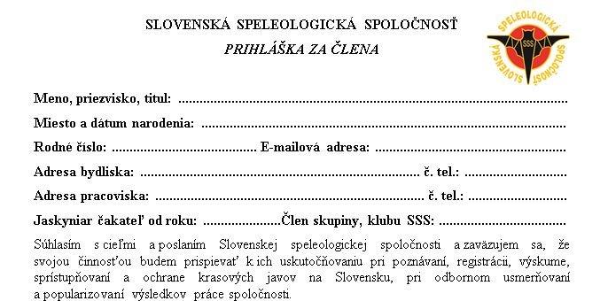 , Prihláška do SSS, Slovenská speleologická spoločnosť, Slovenská speleologická spoločnosť