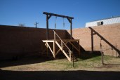 A recreation of the gallows built behind the courthouse for the hangings of the Bisbee Massacre gang.