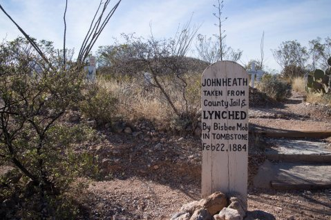 """John Heath Taken from county jail & LYNCHED by Bisbee Mob in Tombstone Feb 22, 1884"""