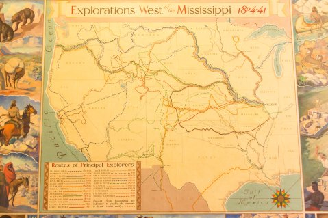 Western exploration map in the museum.
