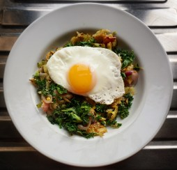 I made this delish kale, onion, bacon hash w/ fried egg