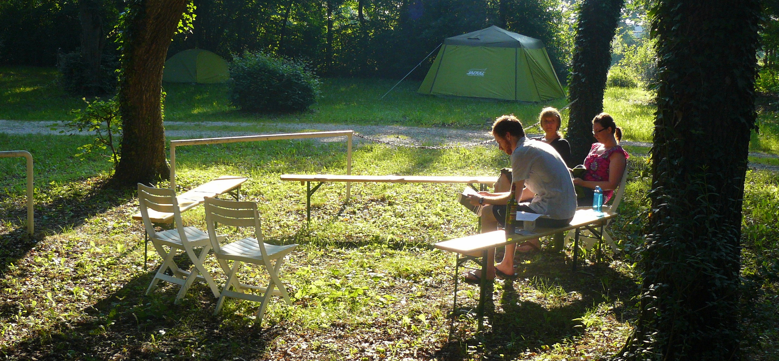 reading while camping