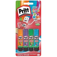 Package contents – Pritt Coloured Glue Stick, solvent-free kids craft glue for paper, cardboard, etc., 90% natural ingredients incl. water, 4 colours: red, blue yellow green, Pack of 4 (4 x 10 g)