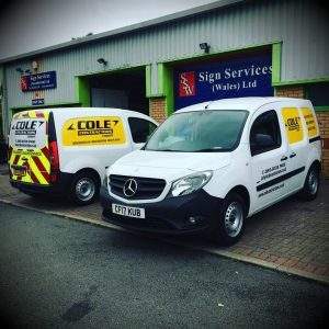 Cole Contractors Vehicle Livery including panel wrap, vinyl cut lettering and chapter eight safety chevrons