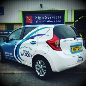 Peter Wood residential lettings, Penarth – Partial vehicle wrap including vinyl cut lettering.