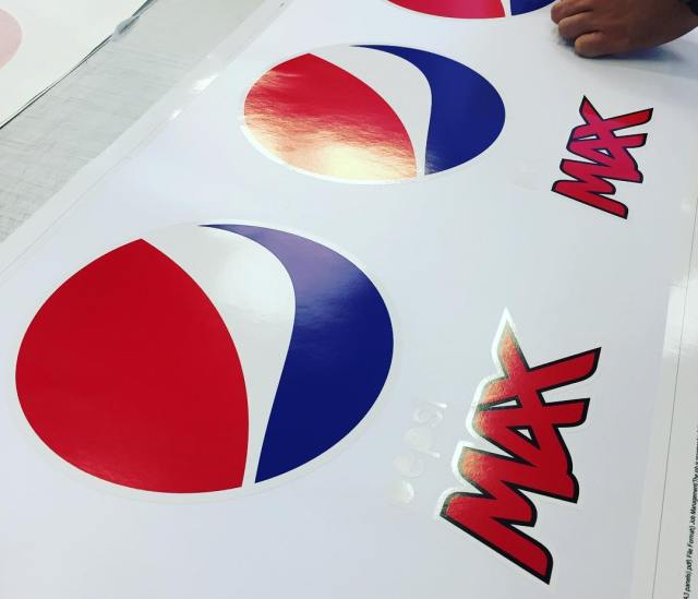 Last minute Pepsi Max logos produced and supplied by Sign Services for the 2017 UEFA Champions League Final