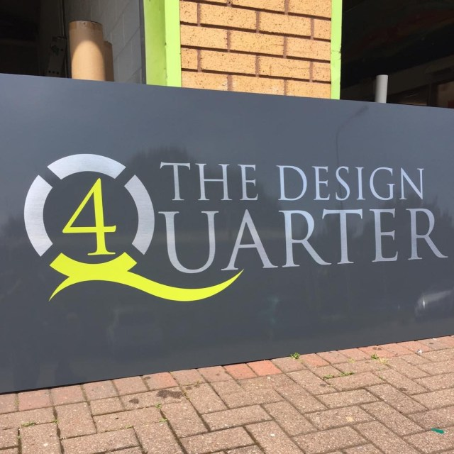 Small sign laid up for Adam James Interiors Cardiff, ready to befitted Friday