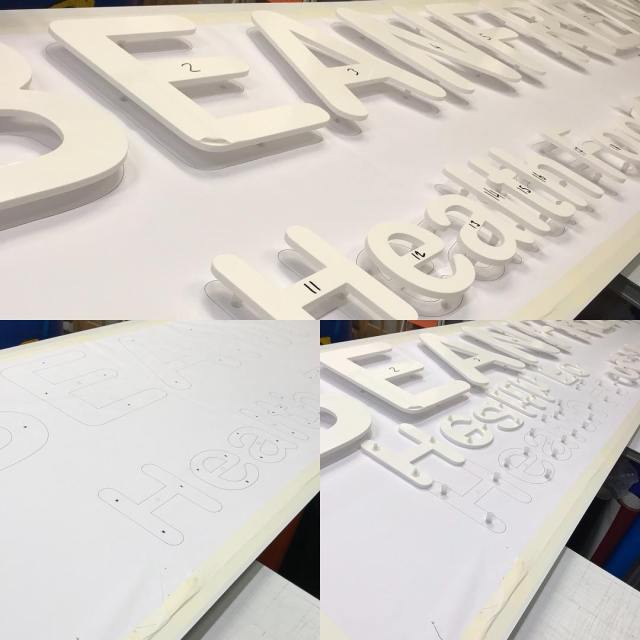 An interesting sign in the making a few weeks ago. Early stages of a large sign including stand off lettering being prepared. More progress pics to follow