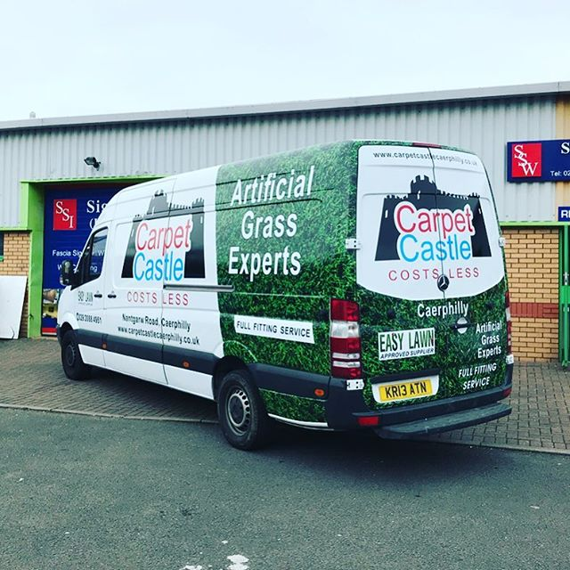 Digitally printed partial vehicle wrap completed last week for Cardiff Castle to promote their artificial turf range