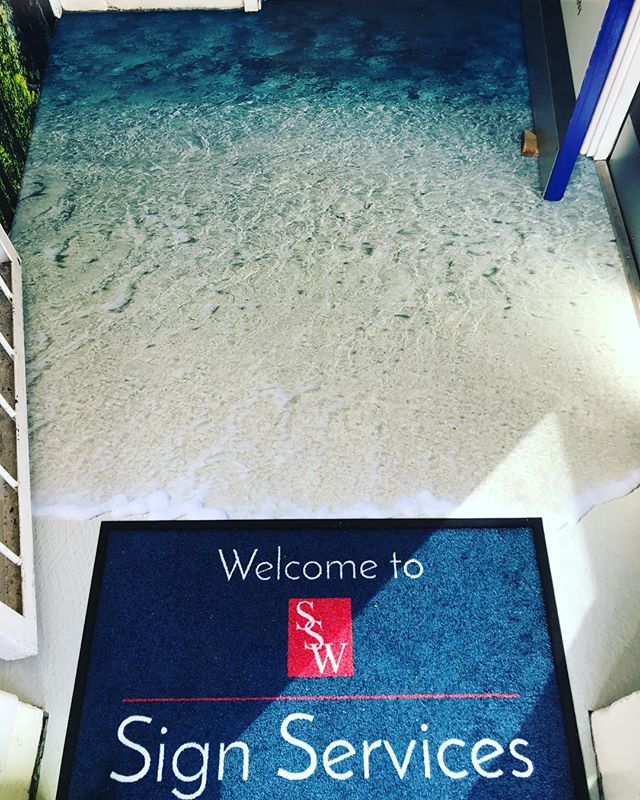 Welcome to Sign Services! New vinyl floor graphics and custom door matt installed, making a very welcome entrance. Contact us if you'd like the same