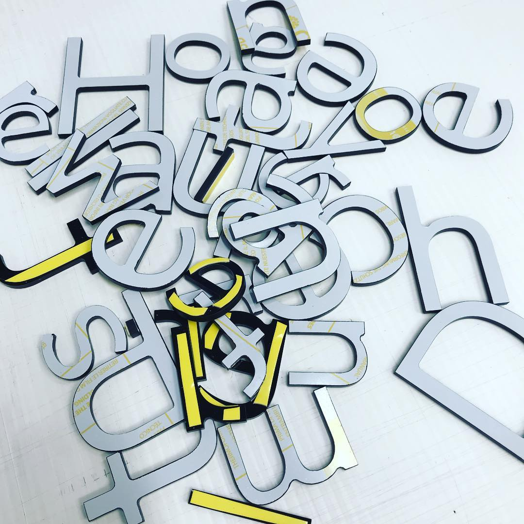 Black gloss acrylic cut out letters