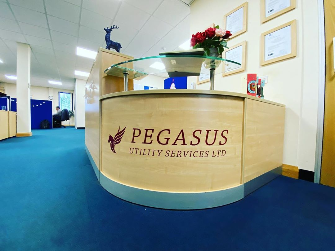 New desk graphics and printed pull up banners, just the start for Pegasus Utility Services(RCD)