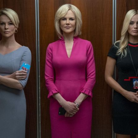 Nicole Kidman, Charlize Theron and Margot Robbie in a lift from the trailer for Bombshell