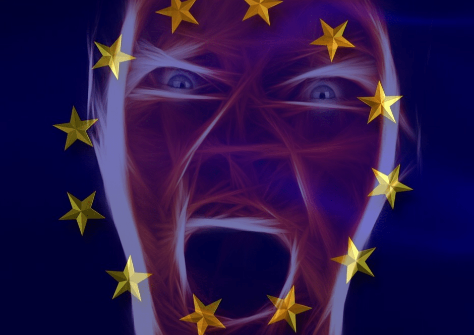 angry face on top of an EU flag