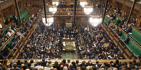 What the house of commons usually looks like packed with MPs