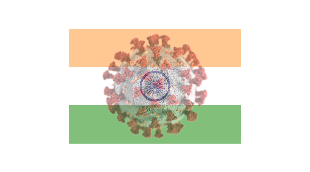 Flag of India with Covid virus image superimposed