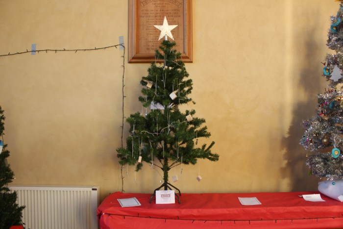 Tree by Smithbuild who help to sponsored the Festival decorated with blocks of wood screws and bolts