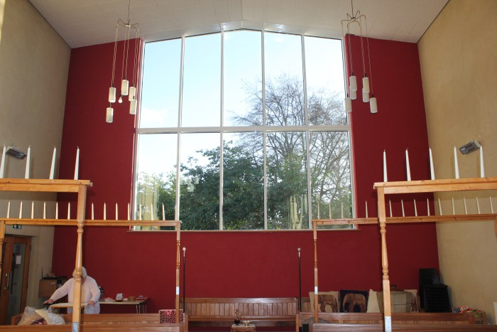 The East window an expanse of glass