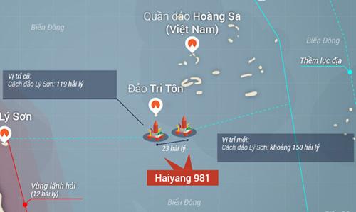 Giàn khoan Hải Dương 981 lùi ra ngoài 23 hải lí