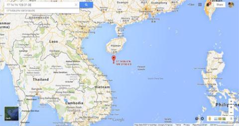 Vị trí giàn khoan Nam Hải 09 mà Cục Hải sự Trung Quốc công bố. Ảnh chụp màn hình Google