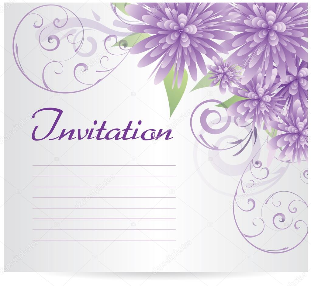 invitation template blank with purple abstract flowers vector image by c artlana vector stock 23700761