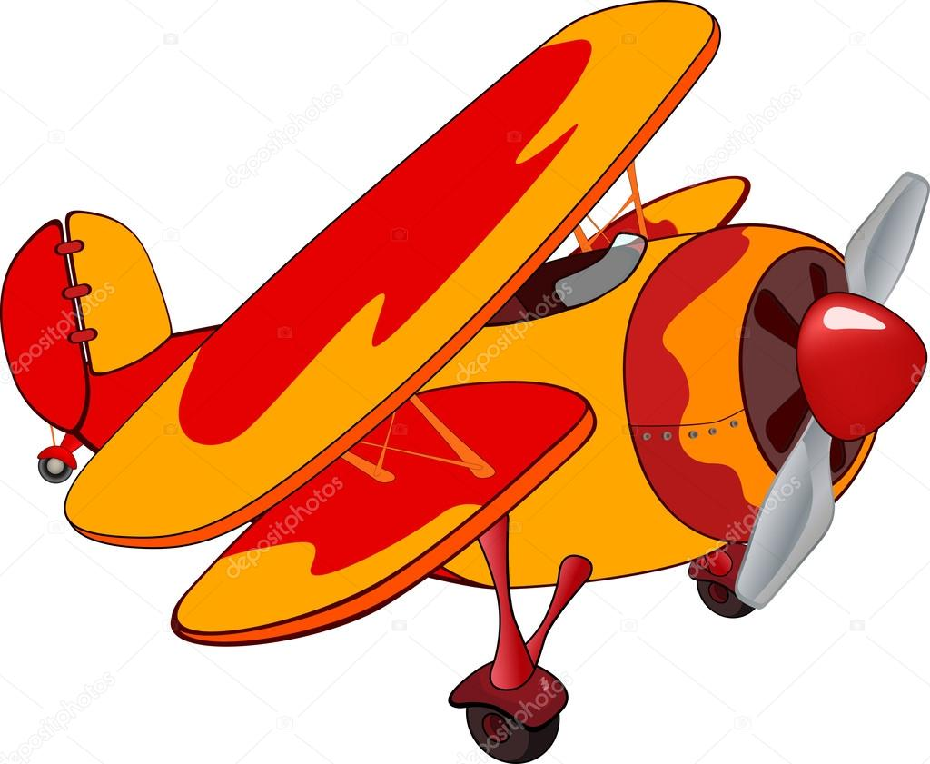The Old Red Biplane Cartoon