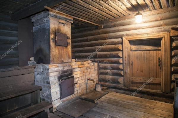 Интерьер русской традиционной деревянной бани — Стоковое ...