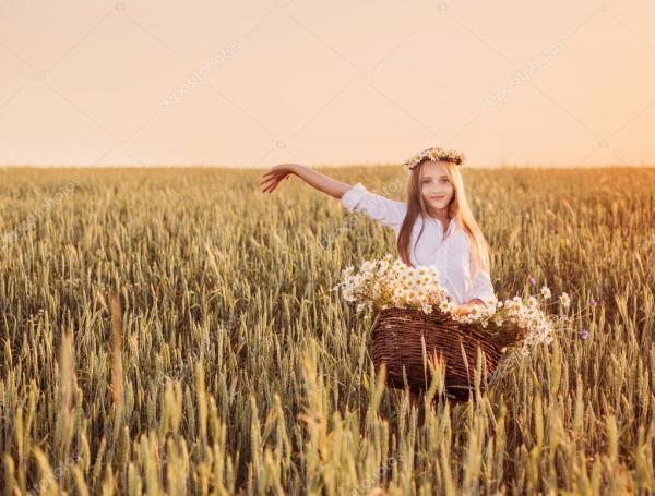 Девушка в поле пшеницы с корзиной цветов Стоковое фото