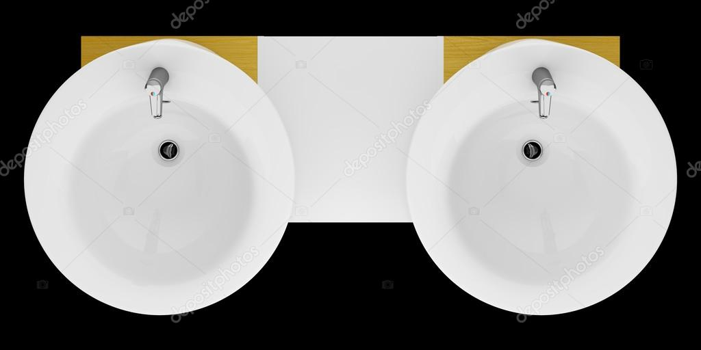 top view of modern double bathroom sink isolated on black backgr stock photo image by c tiler84 47476541