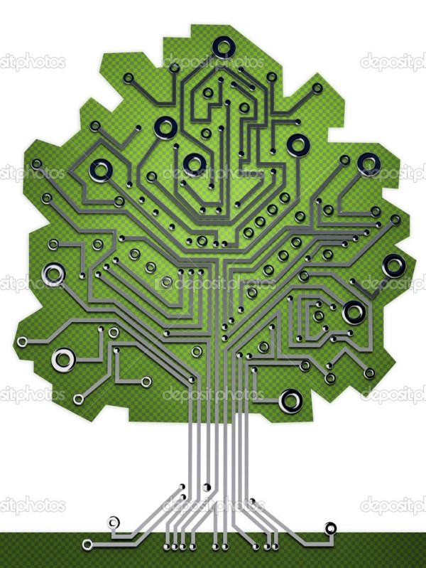 Трехмерная иллюстрация на фоне дерева печатной платы ...