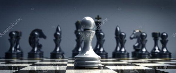 Белые шахматные пешки фон 3d Иллюстрация. высокое ...
