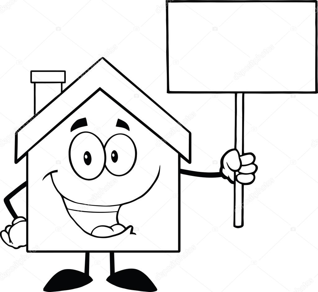 Black And White House Character Holding Up A Blank Sign