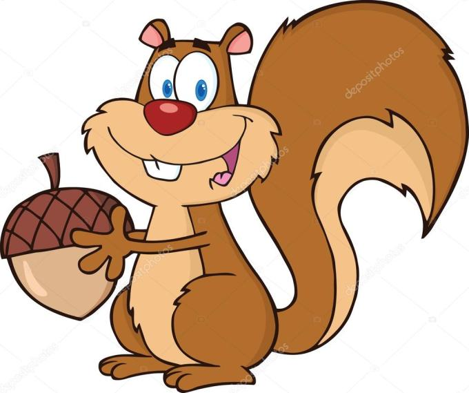 Cute Squirrel Cartoon Character Holding A Acorn Stock Photo By C Hittoon 32640665
