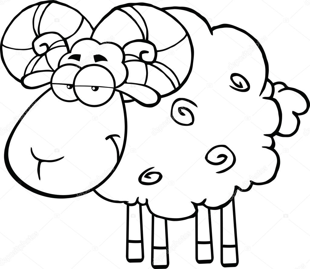 Black And White Cute Ram Sheep Cartoon Mascot Character