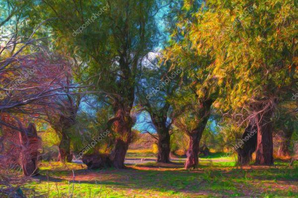 Пейзажная живопись, показывая глубокий лес на солнечный ...