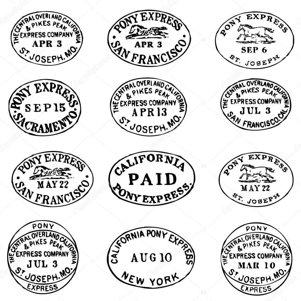 Vektor Clipart Pony Express Stempel Und Etiketten