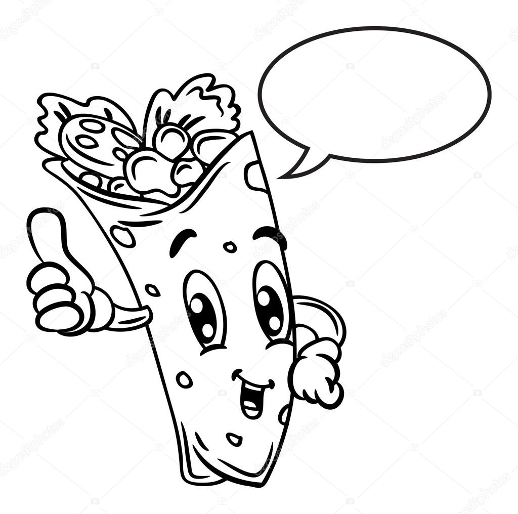 Burrito Coloring Page Coloring Pages