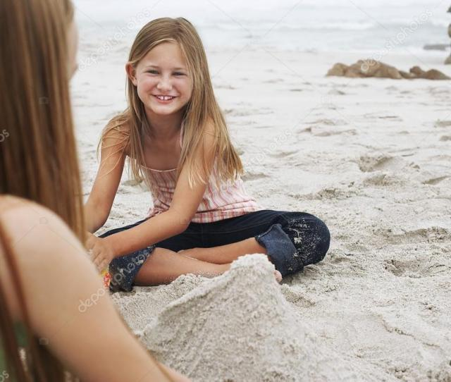 Barefoot Girls On Beach Stock Photo