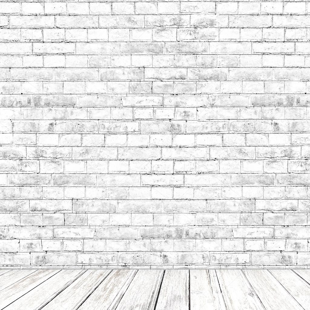 White Brick Wall Room With Wooden Floor As Background