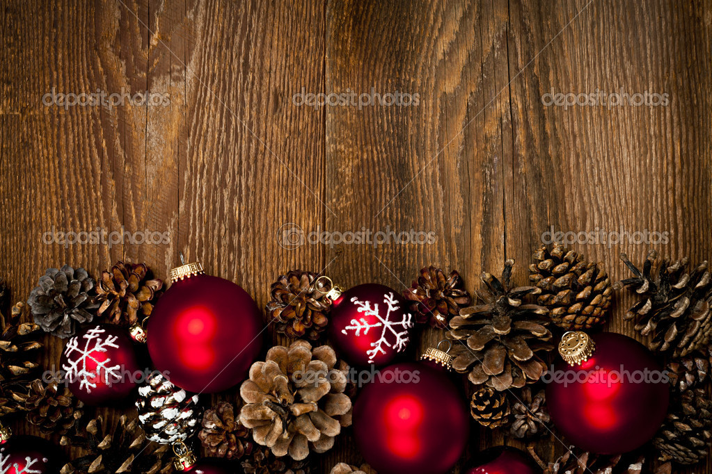 Wood Background With Christmas Ornaments Stock Photo