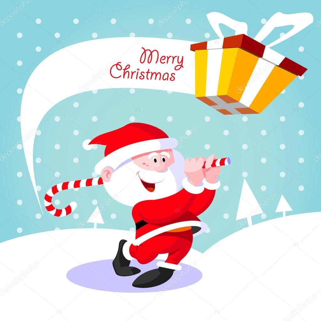 Happy Santa Claus Creative Christmas Card Stock Vector