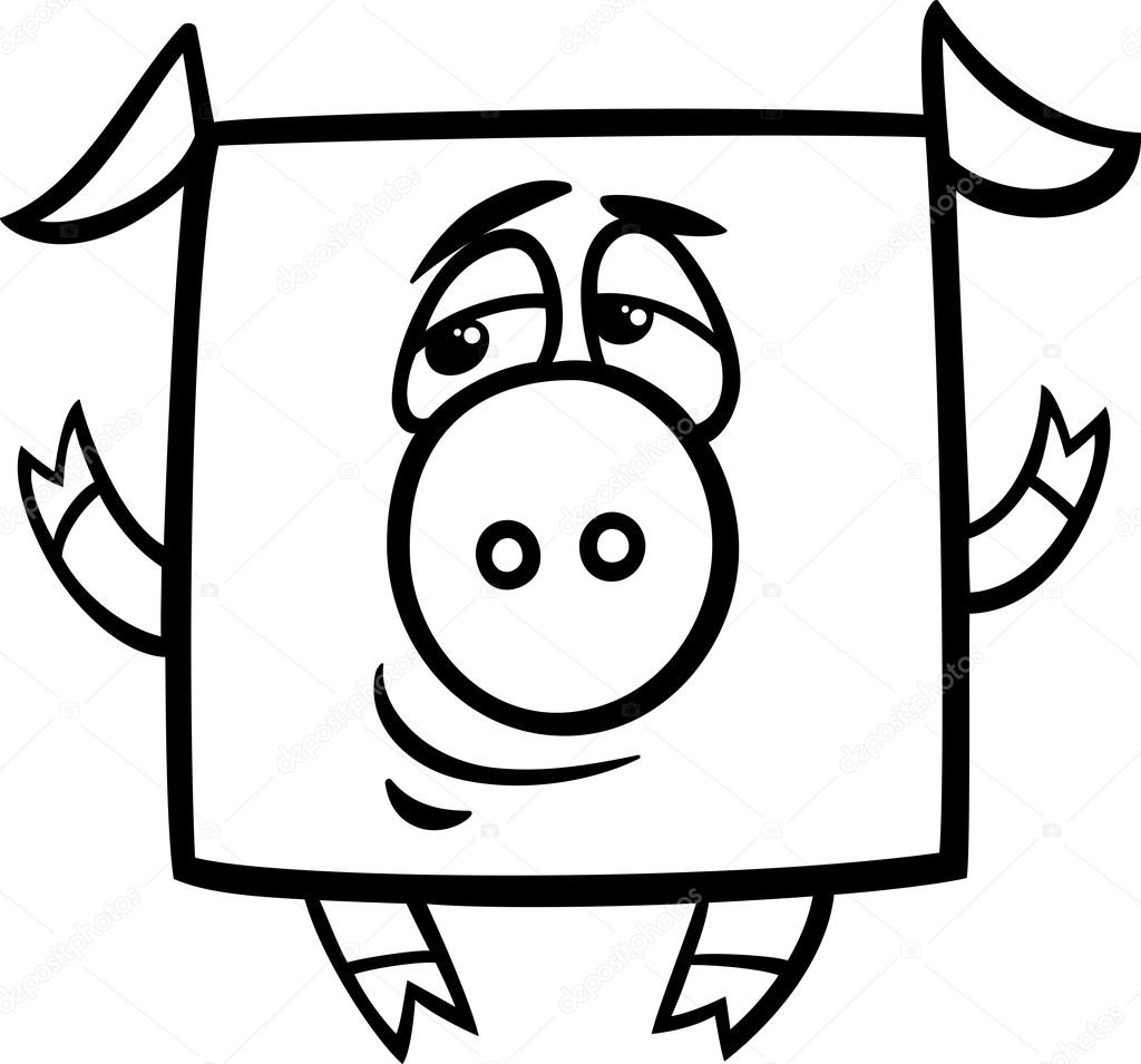 Square Pig Cartoon Coloring Page