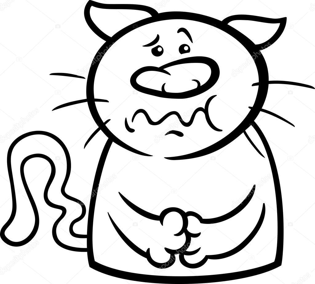 Sick Cat Cartoon Coloring Page