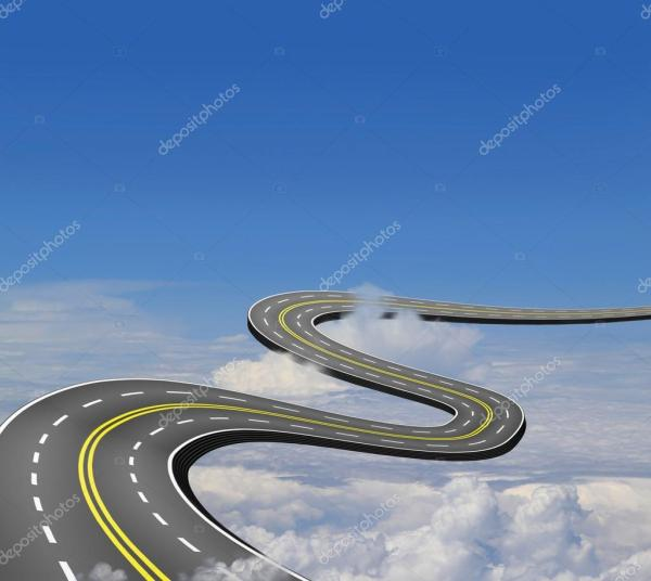 дорога вверх, в голубое небо над облаками — Стоковое фото ...