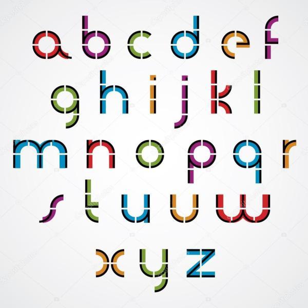 Геометрический стиль букв алфавита. — Векторное ...