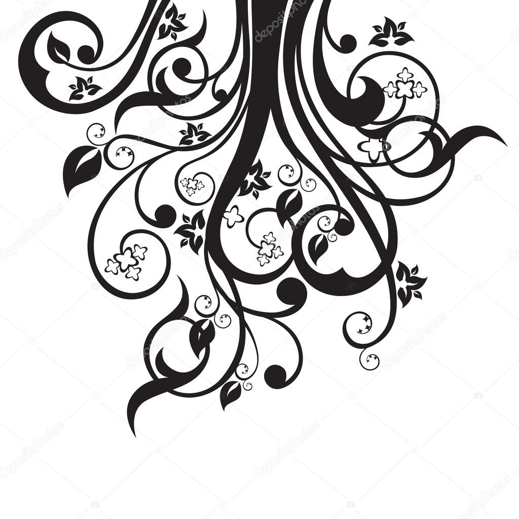 Flowers Leaves And Swirls Silhouette In Black